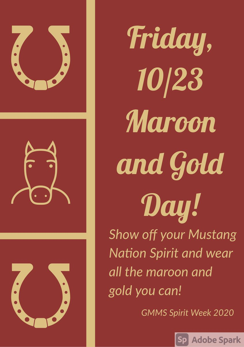 Today is the FINAL day of our 2020 SPIRIT WEEK! It's School Colors day, so we want to see our hallways filled with maroon and gold! Thank you to everyone who participated this week!  Gift card winners will be announced MONDAY!  #gmmsstugo #spiritweek #schoolcolors #mifflinsd https://t.co/zu9oO9uDBj