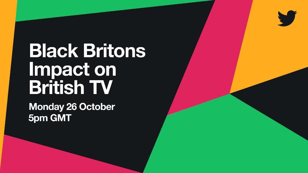 Join us at 5pm GMT on Monday 26 October for 'Black Britons Impact on British TV'.  @junesarpong, @samsonkayo, @munyachawawa, @TheOnlyVinegar and @DionneGrant will discuss, celebrate and highlight the groundbreaking impact that Black Britons have had on TV.