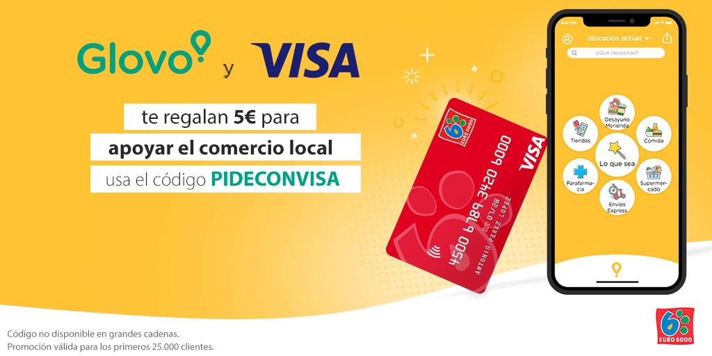 Únete a @Visa_ES y @Glovo_ES para apoyar al #ComercioLocal con tus pedidos💳 En el momento de pago elige tu Visa, introduce el código PIDECONVISA y obtén 5€ para que sigas apoyando al pequeño comercio. Tienes hasta el 21 de noviembre 🙌🏽 Más información👉🏿 https://t.co/PLPX6TFwHP https://t.co/GXwukwX01Y