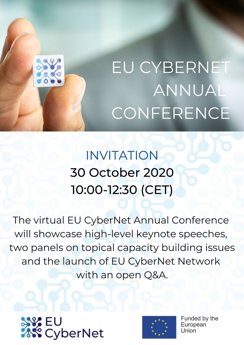 Save the date: October 30! Week to go to join virtual EU CyberNet conference & discussions on #cybersecurity &  #capacitybuilding. #CyberSecurityMonth