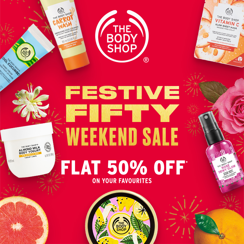 Get your festive fix & grab these weekend deals from #thebodyshopIND at #GVKOne!  #72hrsSale #WeekendSale #FestiveSale #TBSInd #weekendoffers #offersoffersoffers #salesalesale #shopping #mall #shoppingmall #midweekmotivation #midweekvibes #hyderabad #banjarahills https://t.co/OAXQ3UIQP3