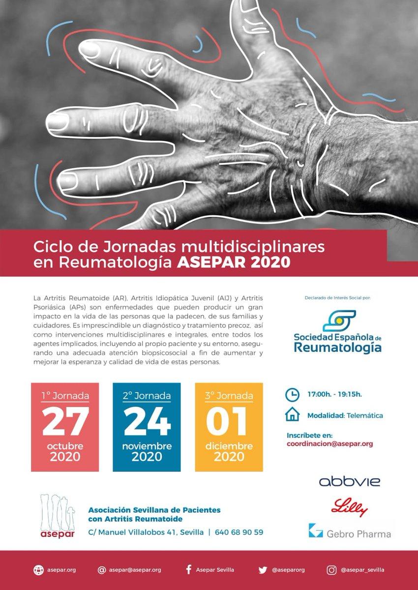 Ciclo de jornadas #multidisciplinares en Reumatología organizadas por la Asociación Sevillana de Pacientes con Artritis Reumatoide. @aseparorg @SEReumatologia #AR #AIJ #AP Las jornadas tendrán lugar el 27 de octubre, el 24 de noviembre y el 1 de diciembre. https://t.co/ac1AQoL2Do https://t.co/SxIbNnu3tG
