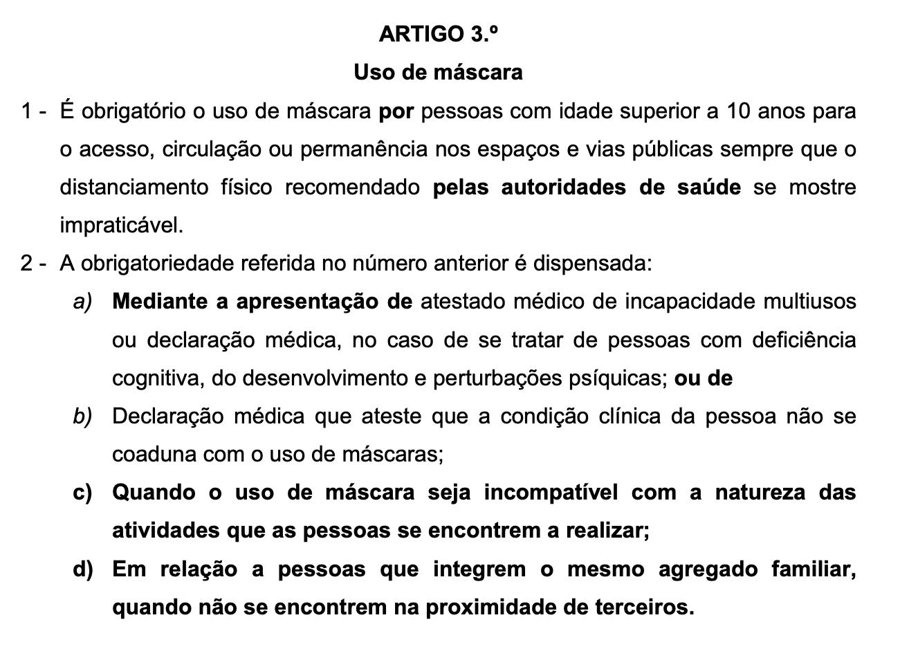 Artigo 3 do projecto lei do PSD que torna o uso de máscara obrigatório mediante as condições apresentadas.