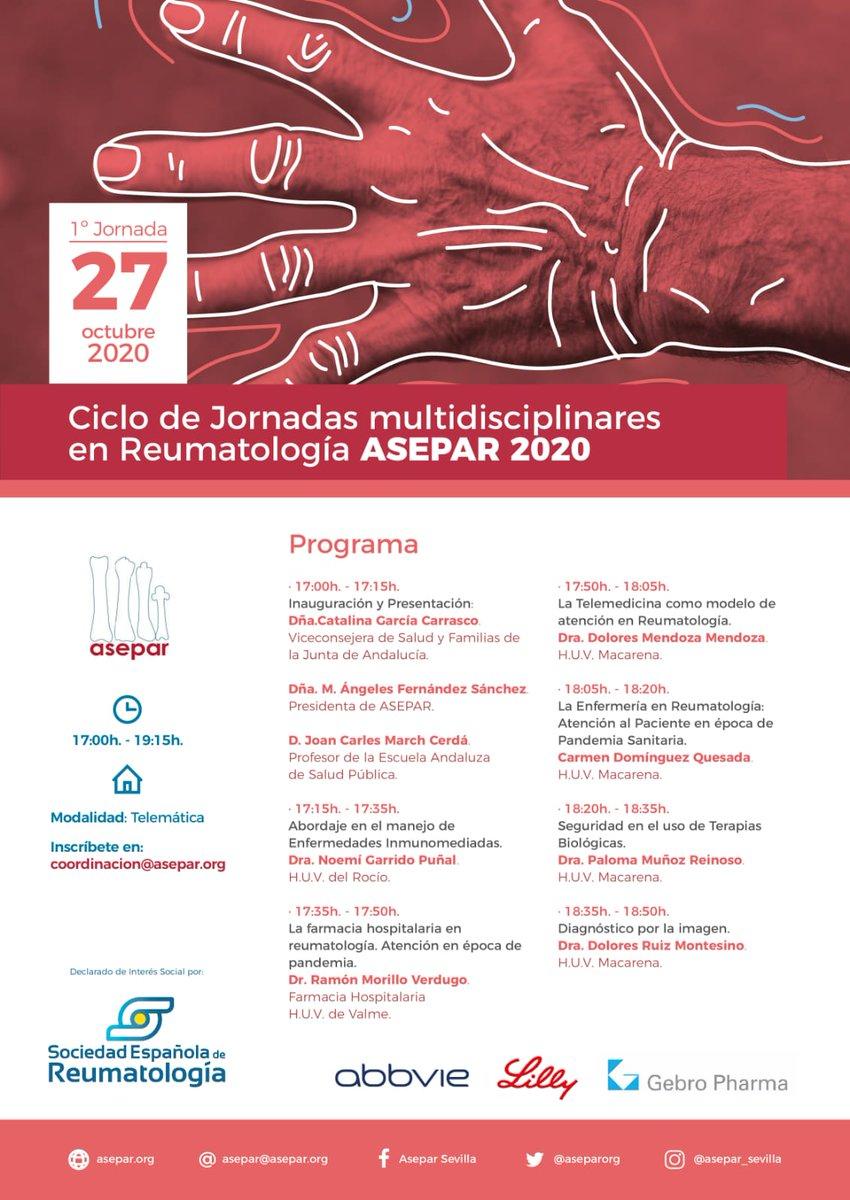 📢 Ya disponible el programa de la primera Jornada, el 27 de octubre. @asepar @SEReumatologia #pacientes #AR #AIJ #AP  https://t.co/ac1AQoL2Do https://t.co/QNu865M9Q4