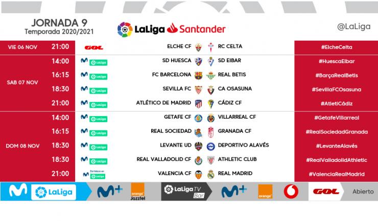 📌📆🕒 Horarios de la jornada 9 en Primera:  FC Barcelona-@RealBetis, sábado 7 a las 16:15 @SevillaFC-Osasuna, sábado 7 a las 18:30 Atlético de Madrid-@Cadiz_CF, sábado 7 a las 21:00 Real Sociedad-@GranadaCdeF, domingo 8 a las 16:15  @canalsur @CanalSurRadio @csurDeportes https://t.co/RXU5qcJdx9
