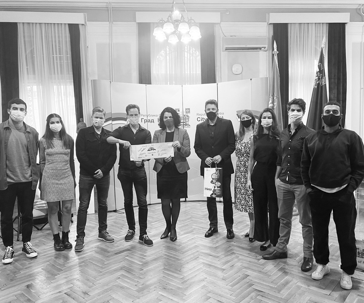 Monkey @trish_ster is in Serbia #LineProducing #CoProducing #TheLedge for @evolutionpicsUK & Red Production The cast & crew met with Mayor of Niš to discuss the film & other potential projects. Niš has been so supportive with locations in the region & extremely film friendly!