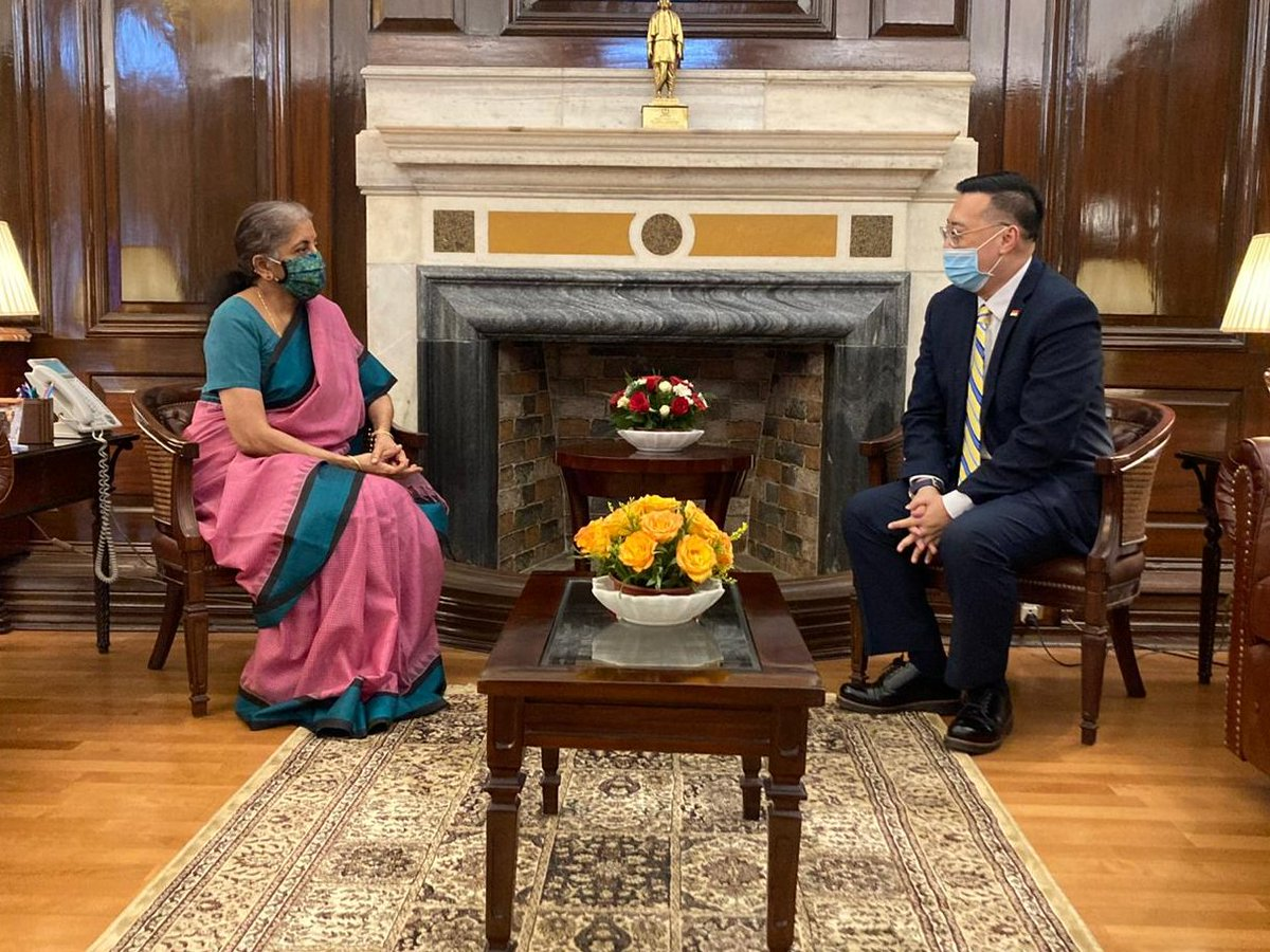 H. E. Mr. Simon Wong, High Commissioner of the Republic of Singapore to India calls on Smt @nsitharaman