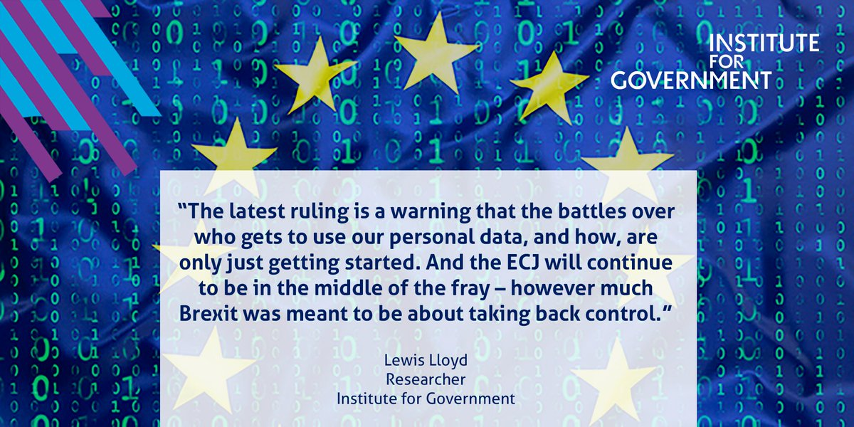 Even if the UK secures a data adequacy decision with the EU, the personal data question is not going away – with a continued role for the ECJ https://t.co/XYdIE6wbAO https://t.co/Df1urfAggy