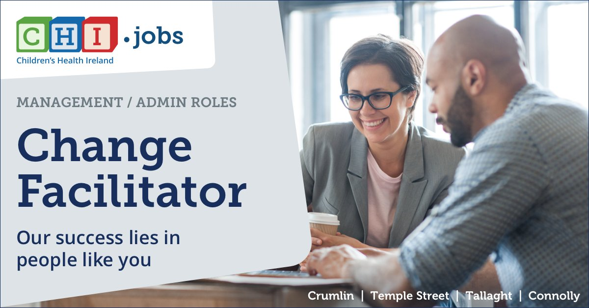 Find the right role for you, focus on the people side of Children's Health Ireland. Applications are invited for the role of Change Facilitator. Learn more here: https://t.co/c8C4oTsn7s #jointeamCHI https://t.co/2EWG2DhU0Y