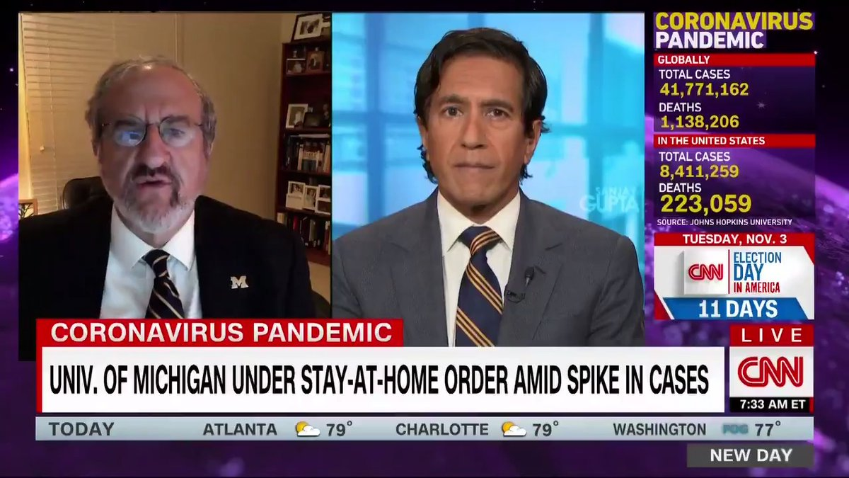 University of Michigan students were given an immediate stay-at-home order amid a spike in Covid-19 cases. Nearly all of cases are undergraduate students, President Dr. Mark S. Schlissel says, adding that the spread is happening in small social gatherings. cnn.it/34lv9WX