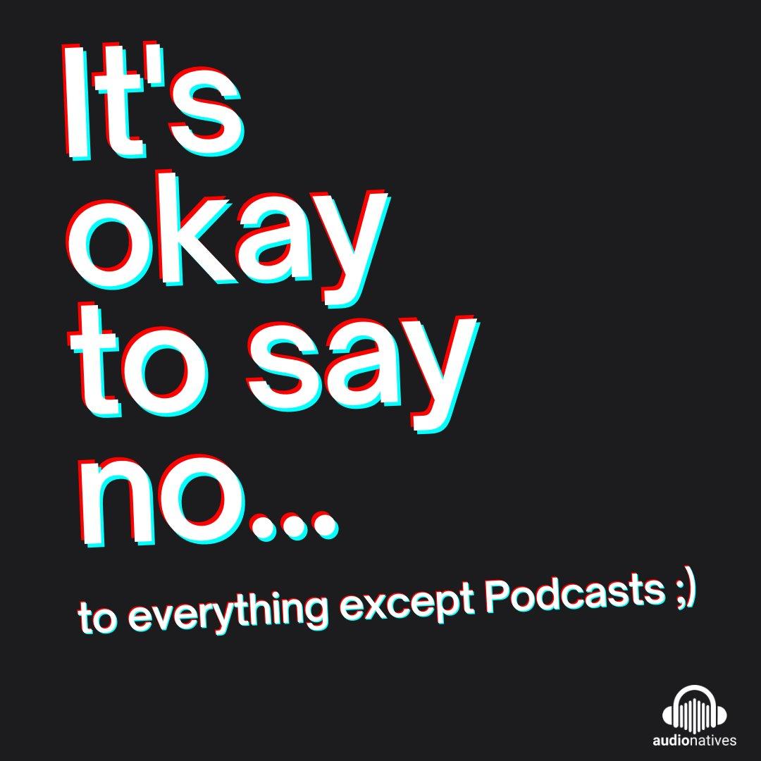 Manchmal muss man im Leben auch einmal nein sagen können. Nein zum zweiten Stück Torte, nein zum Besuch bei den Schwiegereltern, nein zum dritten Mal grillen.    #podcast #audionatives #podcasting #itsfriday #weekend #sayno #podcastlive #podcastlove #podcastwelt #iloveweekend https://t.co/0L9H1A6Eqp