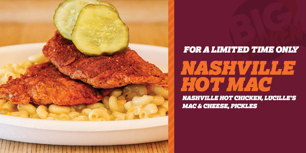 We're taking MAC 'N CHEESE to the next level with our all-new NASHVILLE HOT MAC! This limited time item features our signature Nashville Hot Chicken, Lucille's Mac N' Cheese and Pickles! Try it beginning today at our Glendale, CA & Las Vegas, NV locations. 🙌🏻🐔🔥 #BigChickenShaq
