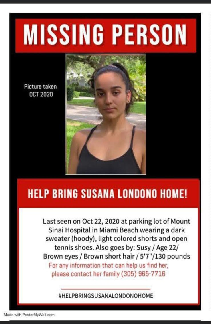 Susana Londono has been missing since yesterday, if you have any information contact her family