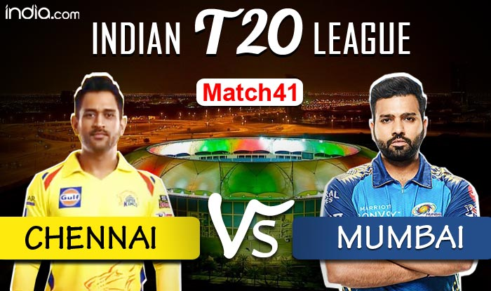 #IPL2020 #CSKvMI #MIvCSK LIVE- Catch live #Cricket score and updates from @ChennaiIPL vs @mipaltan - @IPL match 41.  #CSKvsMI #MivsCSK #IPL2020Updates #IPL #IPLinUAE #ChennaiSuperKings #MumbaiIndians #IPL13 #cricketnews #RohitSharma #MSDhoni  FOLLOW LIVE- https://t.co/Glk5IDy0x9 https://t.co/HdjWvf8izk