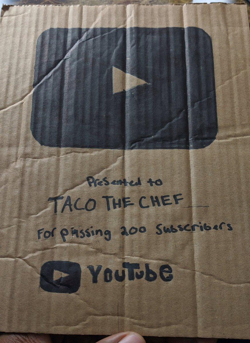 taco_thechef - Ya boy finally got his @YouTube play button 🙏🏿🙌🏿❤️ we outchea!!! Lol