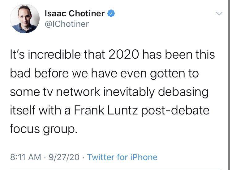 Isaac Chotiner (@IChotiner) on Twitter photo 23/10/2020 13:54:52