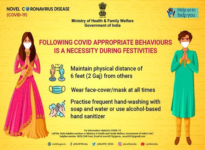 #Unite2FightCorona - Always follow COVID appropriate behaviours and help break the chain of COVID-19 transmission. #RailParivar @RailMinIndia @WesternRly @Central_Railway @GMSRailway @SWRRLY https://t.co/yPq86Jetkr