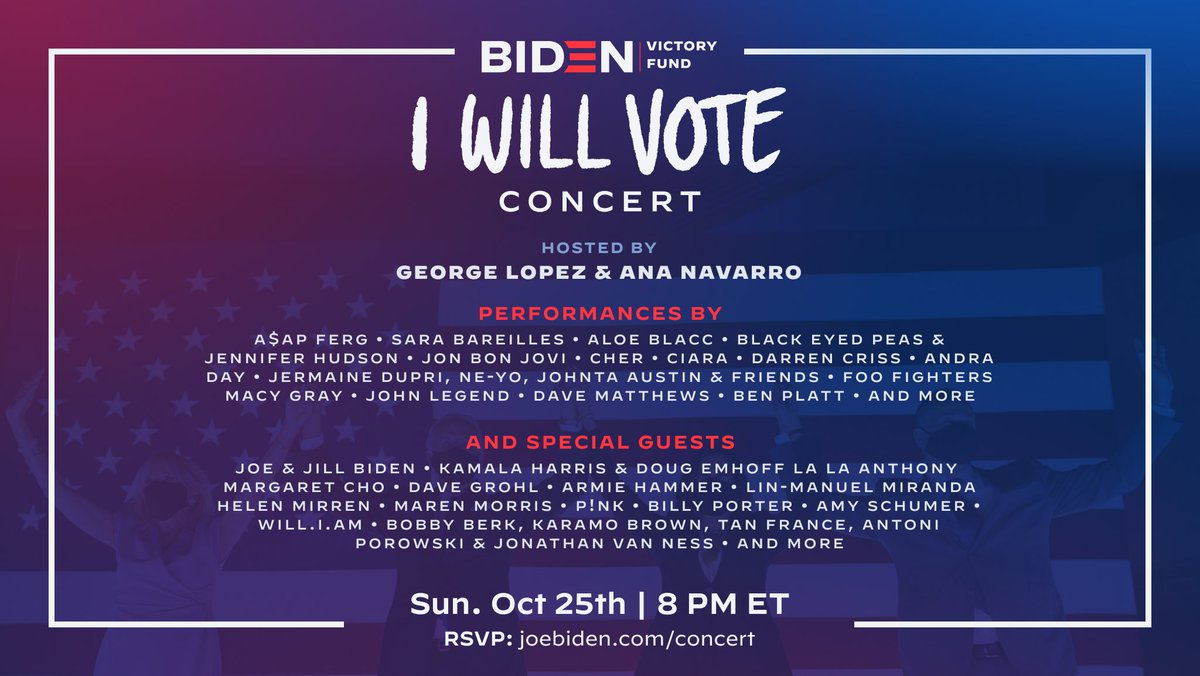 This is an event you won't want to miss! I'm hosting a concert with a great group of artists to support @JoeBiden, @KamalaHarris and Democrats down the ballot. Do your part. Join us: https://t.co/KiQRTM9I2R https://t.co/ycGe9CSDVL