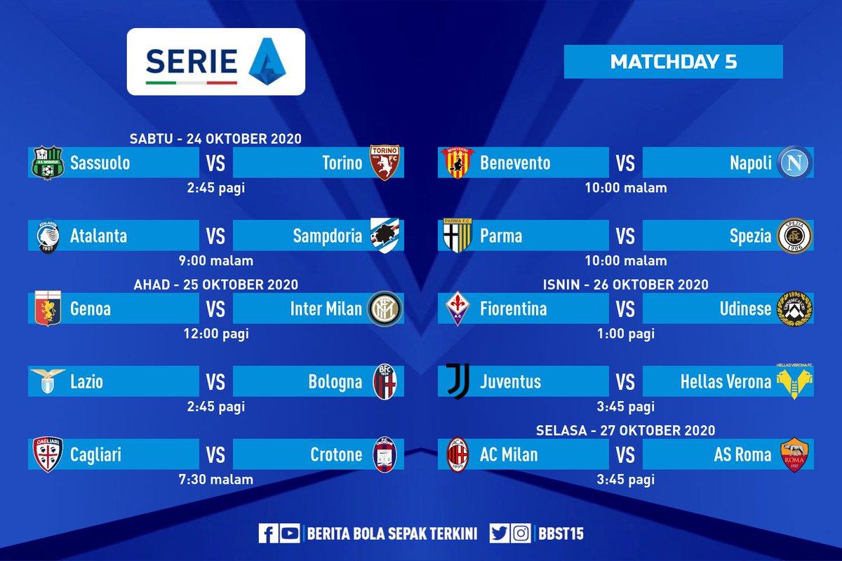 Jadual perlawanan ke-5⃣ #SerieA 🇮🇹  Live di FOX Sports 📺 Sassuolo vs Torino Atalanta vs Sampdoria Genoa vs Inter Milan Lazio vs Bologna Fiorentina vs Udinese Juventus vs Hellas Verona AC Milan vs AS Roma 🔥 https://t.co/dA7feGjEsd