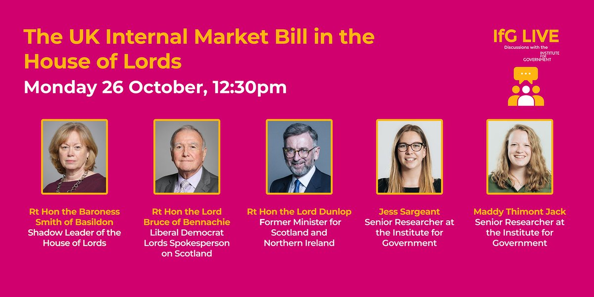 EVENT: How will peers attempt to amend the UK Internal Market Bill? On Monday we'll discuss the key issues in the bill and what to expect as it goes through the House of Lords, with @LadyBasildon @malcolmbruce @ScotlandDunlop @Jess_Sargeant @ThimontJack https://t.co/nqs3TOpbLZ https://t.co/C2mBiAuJ9c