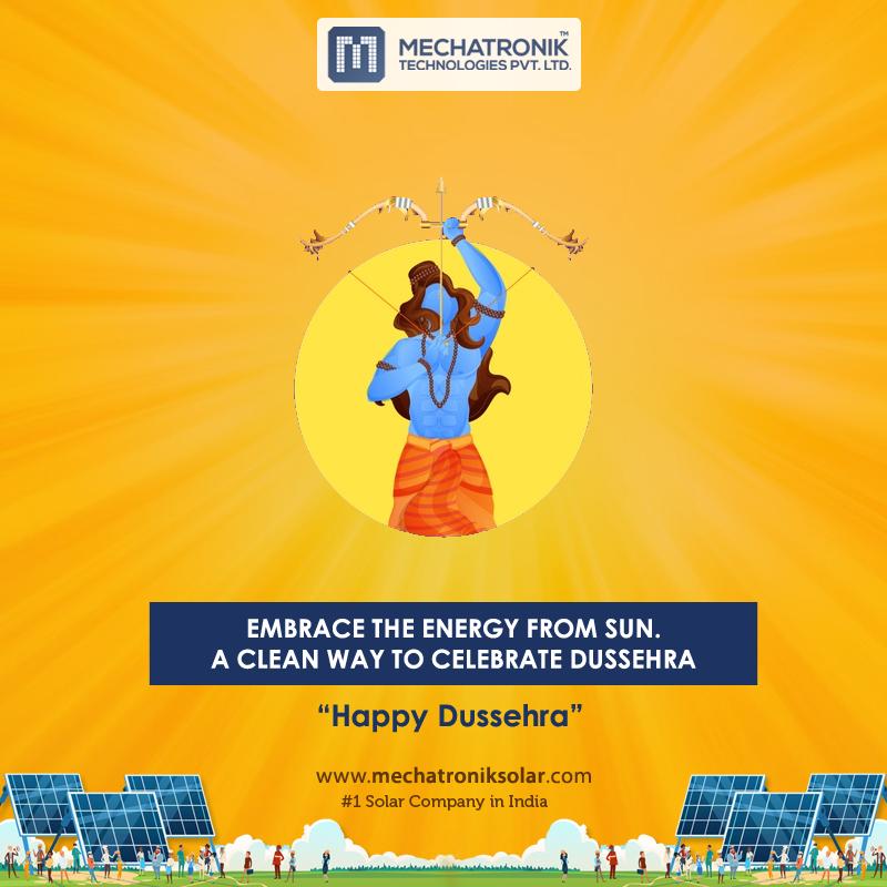 #Happy #Dussehra...  Mechatronik Technologies Pvt Ltd Call: +91 820099 4691 Email: info@mechatroniksolar.com . . . #SolarPanels #ResidentialSolar #CommercialSolar #IndustrialSolar #GoGreen #gosolar #SolarEnergy #SolarPower #PureEnergy #SolarPanel #GreenEnergy #Ahmedabad https://t.co/0sy1NMLPus