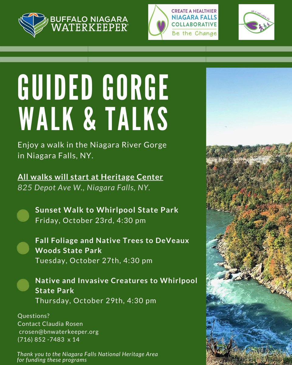 Today is the first of these Guided Gorge Walk & Talks! What a day for it! We'll see you at the Niagara Falls Underground Railroad Heritage Center for some GORGEous scenery! #DiscoverNiagara https://t.co/W7Nel7wZaD