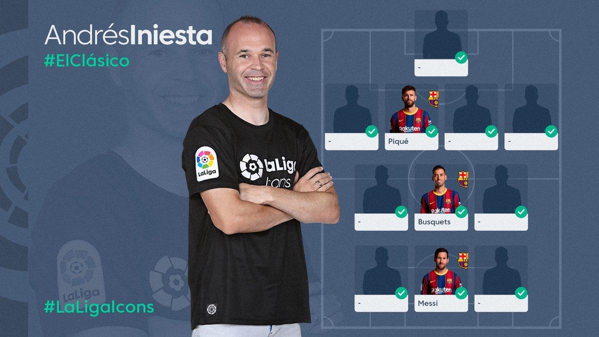 🔥🔝 ¡Tienes 72.5 millones para completar el equipo de @andresiniesta8 en el Partidazo @movistar_es de @FantasyLaLiga!  📝 ¿A quién pondrías acompañando a @3gerardpique, @5sergiob y Messi?  📲   #LaLigaIcons #LaLigaSantander #ElClásico