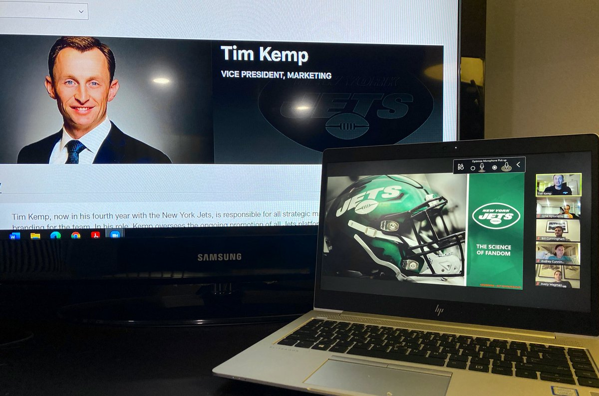 """Thankful to @nyjets VP of Marketing, @TimmyHKemp, for guest lecturing in my """"Science of Fandom"""" class at @nyutischsports! As we continue to deepen our understanding of service quality moderated by team identification, there is no better case study!  #SportsBiz #TakeFlight https://t.co/gJJ6CsZWl1"""