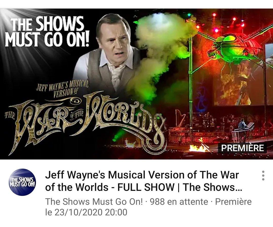 À partir de 20h ce soir et pour 48 heures, la comédie musicale adaptée de La Guerre des Mondes est disponible gratuitement sur YouTube ! Des tripodes sur scène, il fallait oser... 👽  C'est par ici 👉 https://t.co/qKtQnQLnmt https://t.co/Hmcf7uMHkY
