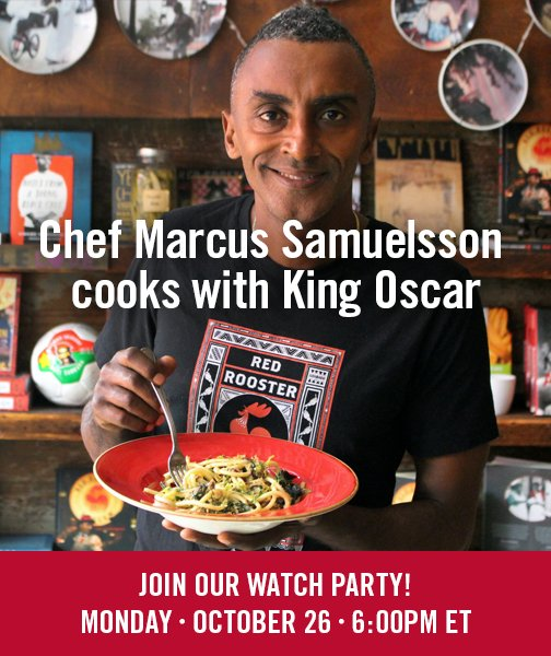 Get ready to join Chef @MarcusCooks on our Facebook Watch Party, Monday 10/26 at 6 p.m. ET for a pro cooking demonstration! Chef Marcus Samuelsson creates Bucatini with King Oscar Royal Mackerel Fillets, Swiss Chard, Preserved Lemon & Chili. Tune in...and eat royally! https://t.co/2XmzI6nI4b