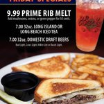 Friday fun starts HERE! Get to your nearest DJ's for our delicious $9.99 Prime Rib Melt Special & these tasty drink specials! It's going to be a great night of College Football & World Series action on our MASSIVE Media Walls! -Illinois vs Wisconsin at 7pm -Dodgers vs Rays at 7pm