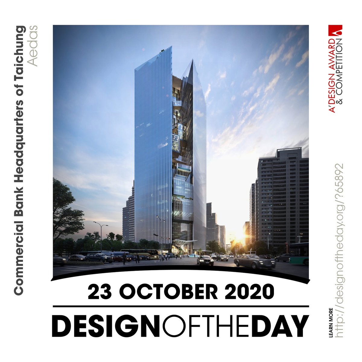 Congrats to Aedas, the creator behind the Design of the Day of 23 October 2020 - Headquarters of Taichung Commercial Bank HQ and Five Star Hotel. Check out this great work now. We are currently featuring it at https://t.co/T1owYPdGV2 #designoftheday https://t.co/v6wVfGEojx