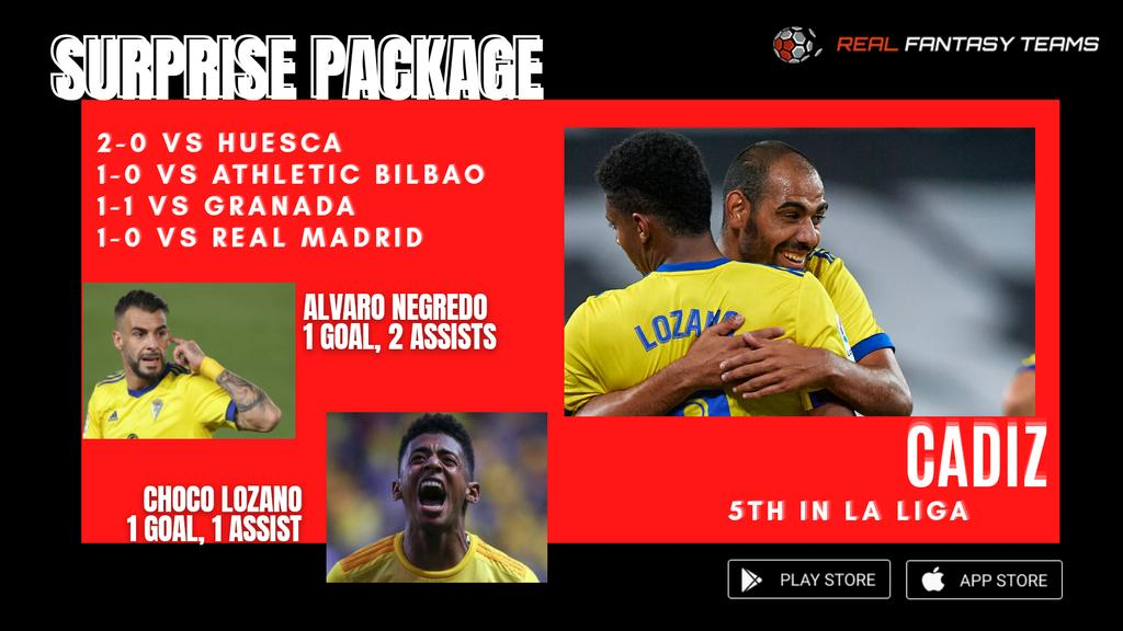 Newly promoted Cadiz are in the top 5 in La Liga! 🔥  They've beaten Huesca, Athletic and Real Madrid already, and held Granada to a draw! Choco Lozano and Alvaro Negredo have led their good form.  Might be a good idea to invest in their top performers! 😃 https://t.co/SfMJmwfkMh