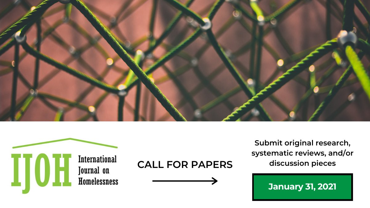 CALL FOR PAPERS   Recognizing the need for scholarly dissemination on preventing/ending #homelessness that truly incorporates both the Global North and Global South, we welcome you to contribute to the first edition of the #IJOHjournal: bit.ly/3jkfnjj #research #data