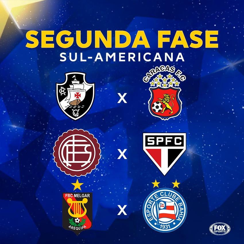 "FOX Sports Brasil (de 🏠) on Twitter: ""DUELOS DOS BRASILEIROS DEFINIDOS NA  SUL-AMERICANA! Vasco x Caracas Lanús x São Paulo Melgar x Bahia… """