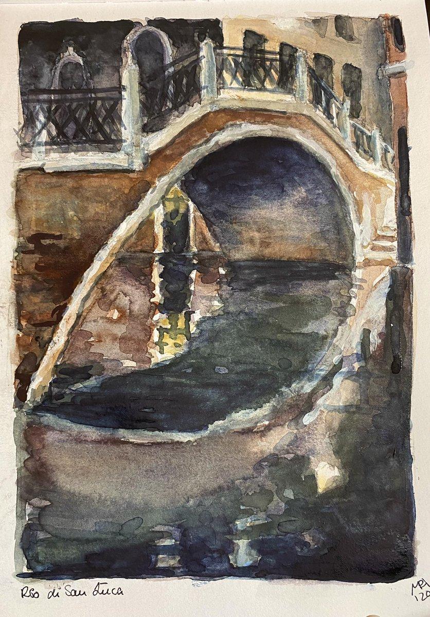 "Corona-Skizzen 201: Brücke am Rio di San Luca, Venedig. Mein erstes ""Nachtbild"". Aquarell und weiße Gouache, 18x26cm #KleineKunstklasse #watercolor #thedailysketch #Venice #Venezia !B https://t.co/Jl9A1aPyoo"