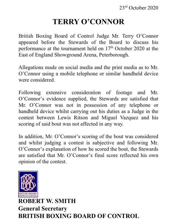 ‼️ The BBBofC have now announced that judge Terry O'Connor will face no repercussions for his performance during Lewis Ritson vs Miguel Vazquez last Saturday. They are satisfied with his explanation of his score and believe he wasn't holding a phone. Full statement… https://t.co/tRaIa0pHp5