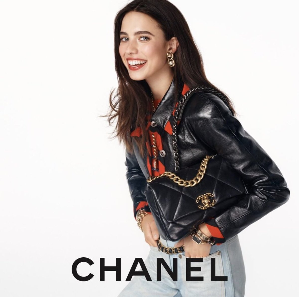 The CHANEL 19 bag – actress Margaret Qualley stars in the latest campaign imagined by Sofia Coppola and photographed by Steven Meisel. #HandbagCHANEL19 #CHANEL  #MargaretQualley #SofiaCoppola #StevenMeisel
