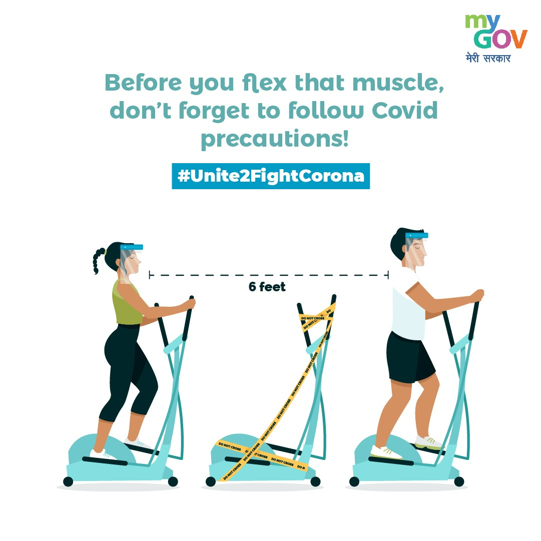 Before you flex your muscles in the gym, don't forget to follow COVID precautions! Follow the guidelines issued by the Government religiously as the pandemic is not over yet! #IndiaFightsCorona #Unite2FightCorona https://t.co/q5v2ecyxPl
