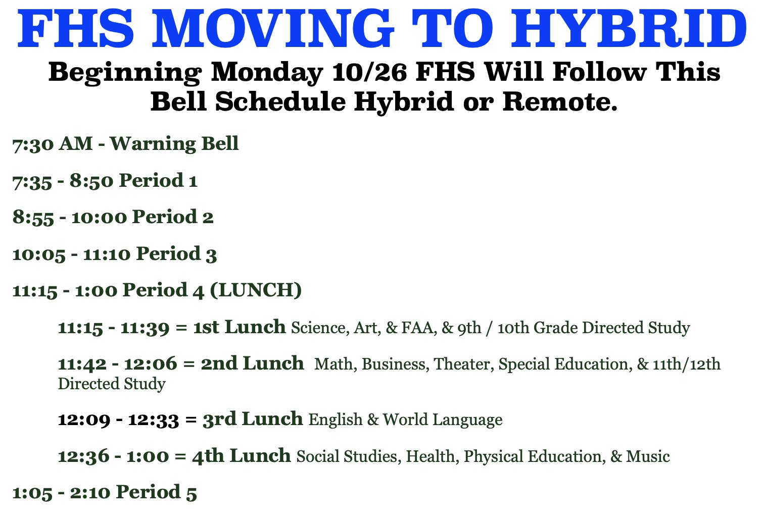 FHS hybrid bell schedule