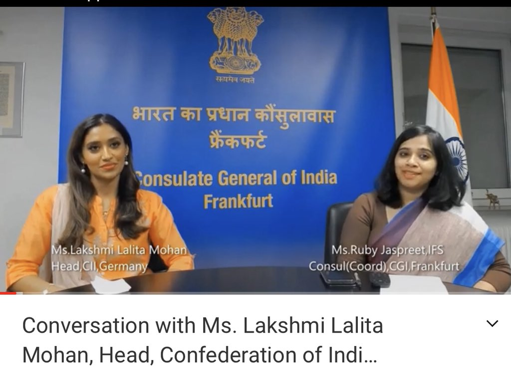 Live now  Let's Connect: 9 #Women, 9 #SuccessStories With Ms. Lakshmi Lalita Mohan, Head, Confederation of Indian Industry @FollowCII Germany.   https://t.co/oyGdYVJqQf  @MinistryWCD @MinOfCultureGoI @ICCR_Delhi @IndianDiplomacy @llmohan @eoiberlin @AmitTelang12 https://t.co/qcww8VgWNZ