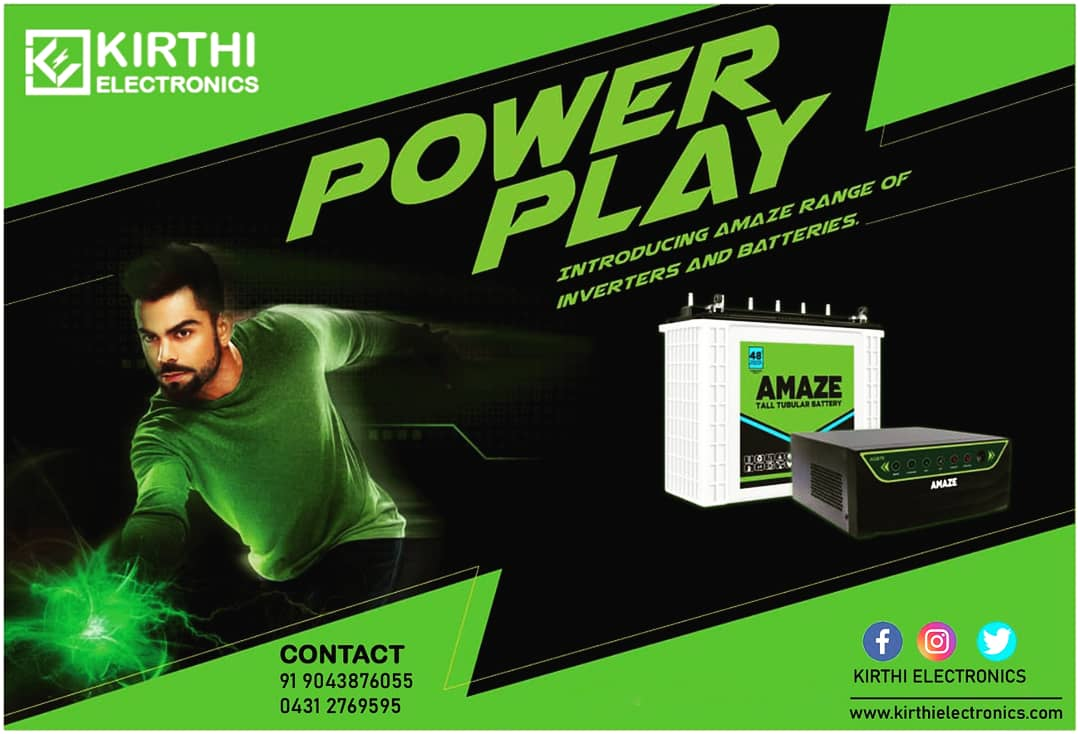 Introducing amaze inverters and batteries. E-mail : kirthielectronics@gmail.com Website : https://t.co/wnyIKNjBou Facebook : https://t.co/NBiaWAOwt1 Twitter : https://t.co/bt5qU8Cip2 Contact : +919043876055 #Saturday #weekendvibes #battery #navaratri2020 #Sales #Amazon #amaze https://t.co/R0YR2RN0EM
