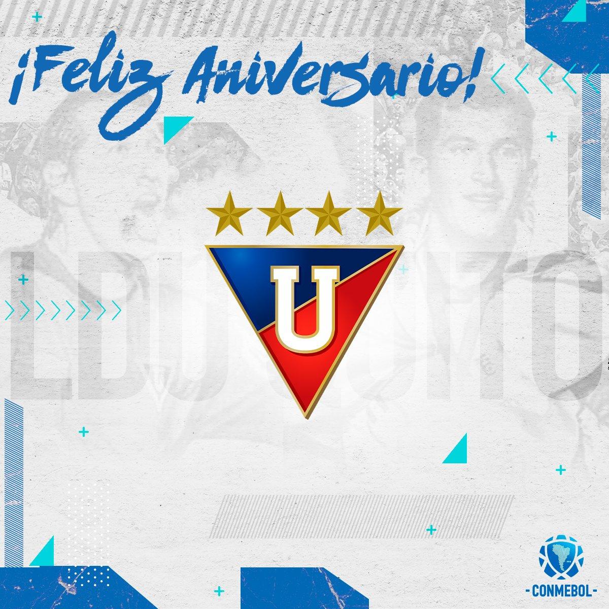Hoy cumple 102 años de vida institucional @LDU_Oficial 🇪🇨.  Campeón de la @Libertadores y de la @Sudamericana, saludamos a un grande del fútbol ecuatoriano.🏆  Felicidades, Albos 🥳🎂 https://t.co/eGM5GUPRqO