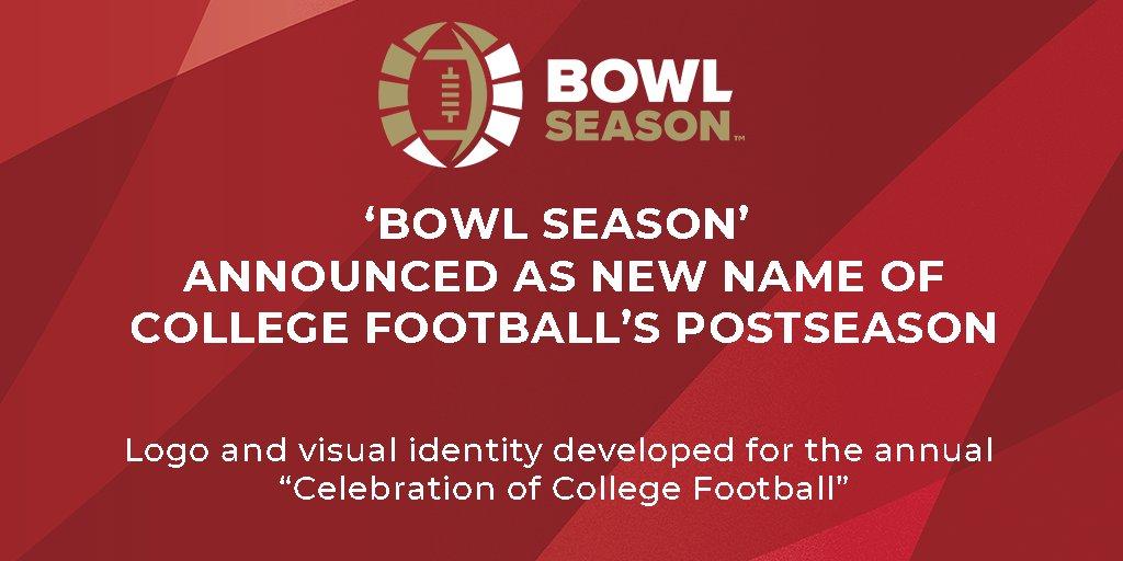"BOWL SEASON ANNOUNCED AS NEW NAME OF COLLEGE FOOTBALL'S POSTSEASON  Logo and visual identity developed for the annual ""Celebration of College Football""  #bowlseason #breakingnews 🏈   More: https://t.co/aQaubASpVW https://t.co/KYQl2VSdFZ"
