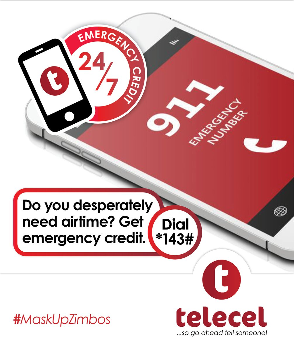 If you ever find yourself in need of Airtime in an emergency, do not fret Telecel has got you covered with your Emergency Credit! To get simply dial *143# anytime.T&C's apply. #emergencycredit #tellsomeone https://t.co/lR9NRcgTLR