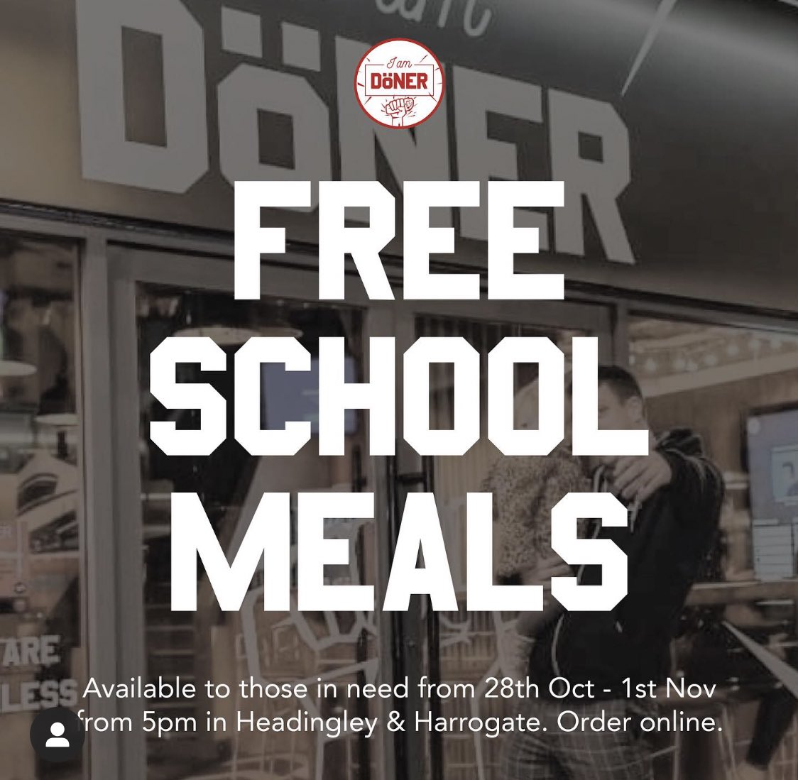 Both our Harrogate and Headingley sites will be offering 50 healthy free school meal alternatives per day from next Wednesday (28th) till Sunday (1st). See below for more details & please share to help those who need it.