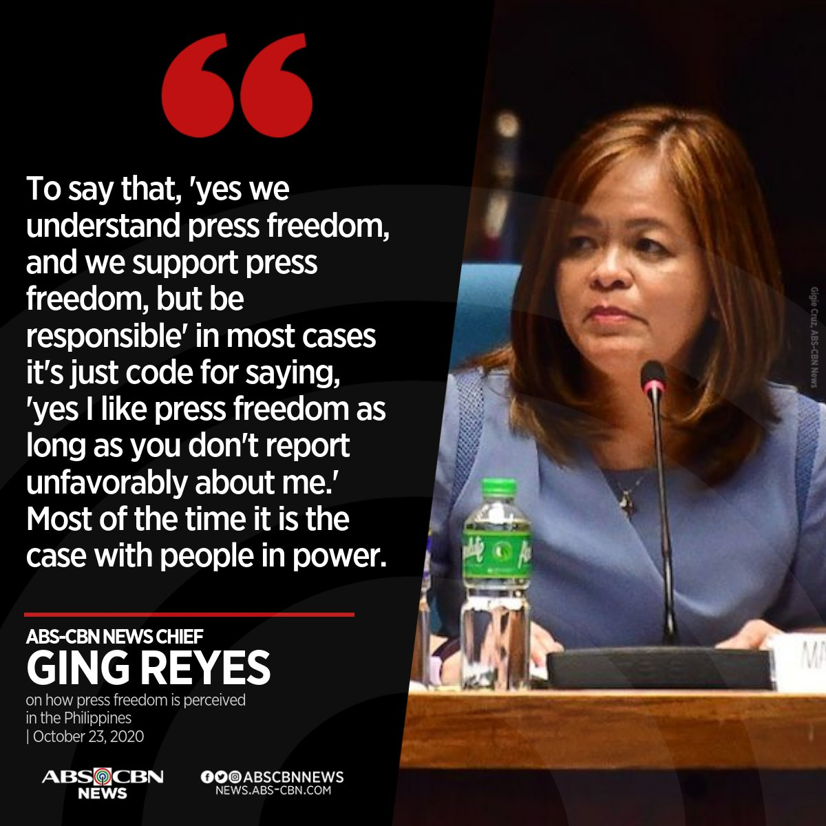 ABS-CBN News chief Ging Reyes says people in power only like the idea of press freedom when it's convenient for them.  Read more: https://t.co/psK38NvODB https://t.co/b1SCuUtyeR