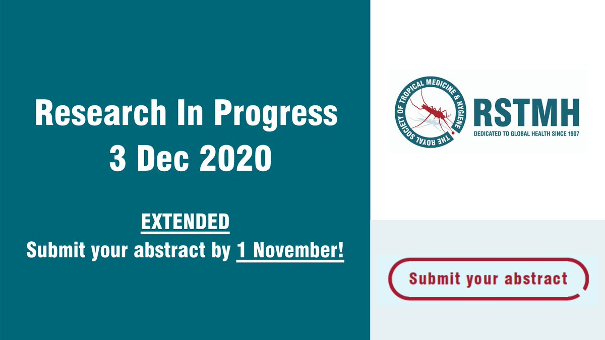 📢Dont miss this opportunity to showcase you #ResearchInProgress at #RSTMH #RSTMHRiP in December! If you are an #Early Career #Researcher in #GlobalHealth with an unpublished #Research in progress, submit your Extended Abstract⌛ 1 November. rstmh.org/events/researc…