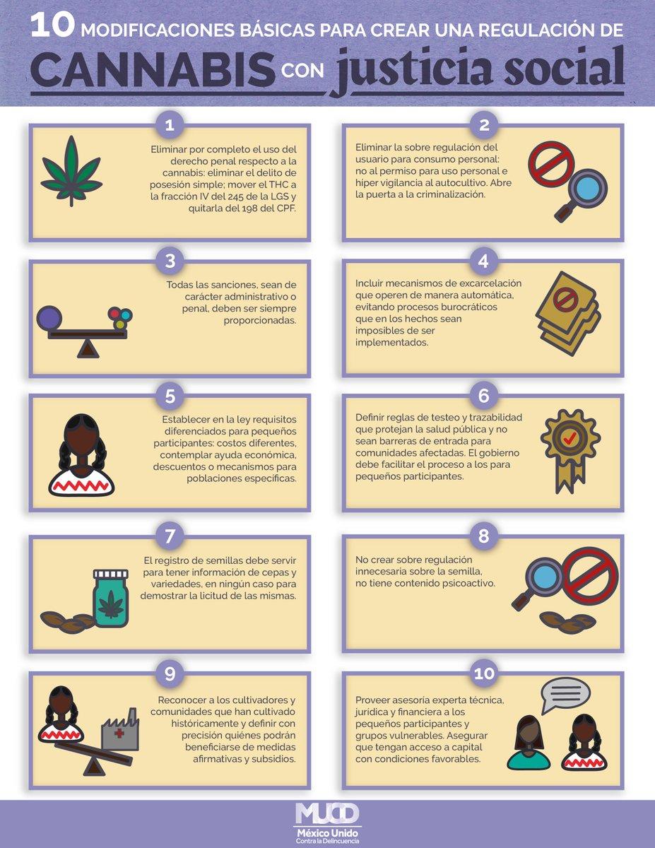 El Congreso tiene hasta el 15 de diciembre para regular el mercado de #cannabis en México. Y en @MUCD queremos que haya #CannabisLegalConJusticiaSocial, por eso invitamos al @senadomexicano a consultar y retomar las siguientes consideraciones 👇🏽 https://t.co/PBhtNbxeLU https://t.co/ussUAoXHcm