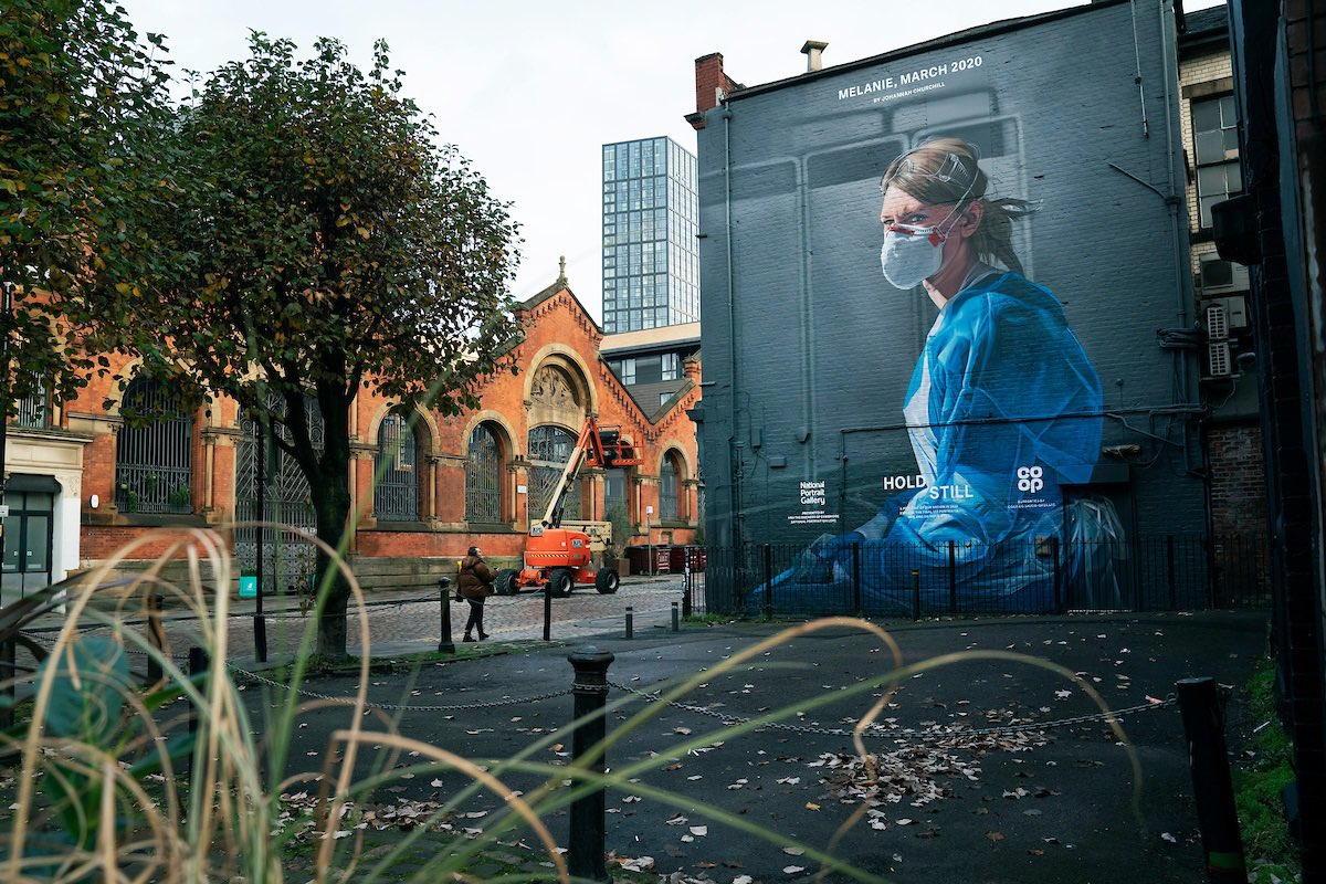 With the support of @NPGLondon and @CoopUk, this amazing mural brings Hold Still to the streets of the UK, demonstrating the support for the NHS community.  Photo credit: Johannah Churchill https://t.co/Cn9Olnlh7I